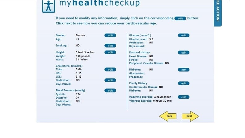 These are my answers showing from the Heart Age Calculator