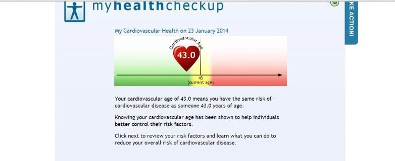 My cardiovascular heart age is 43 and I am 45.