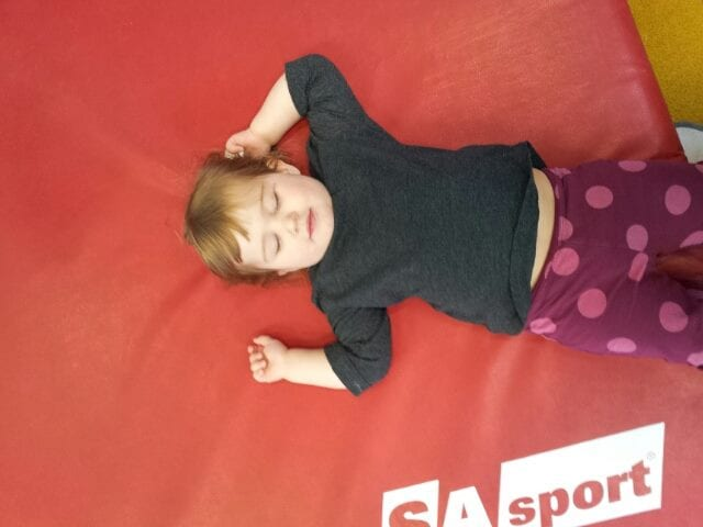 Mary taking an unauthorized break during gymnastics. Photo by Samantha Ball.