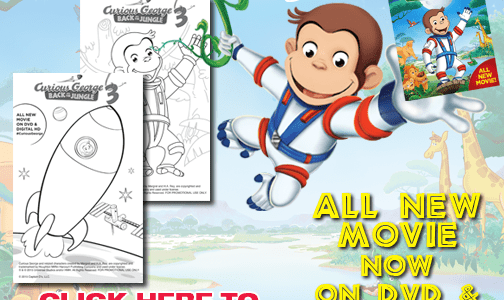 Curious George 3 Colouring Sheets