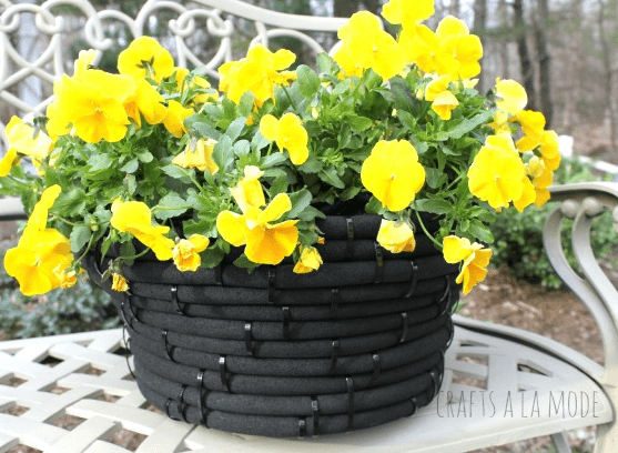 Turn Old Garden Hose Into Flower Pot
