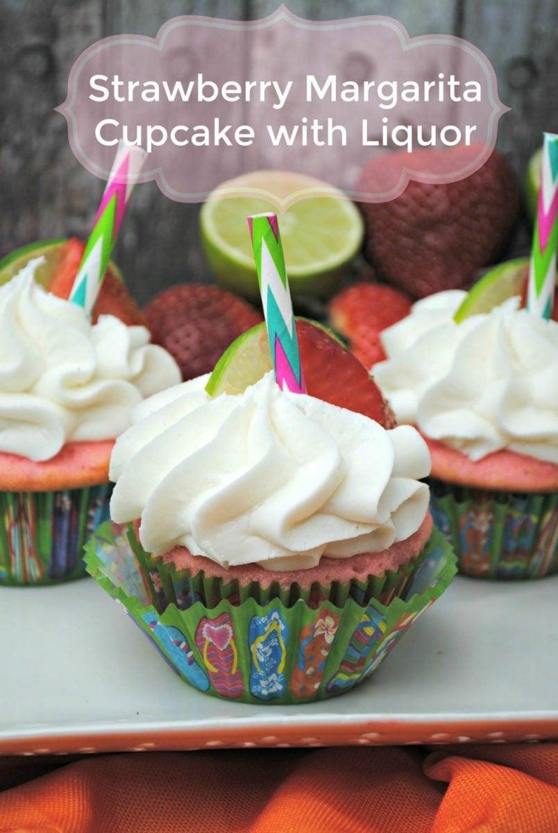 Strawberry Margarita Cupcake with Liquor