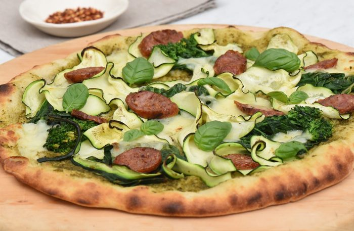 Grilled Turkey Sausage and Summer Greens Pizza