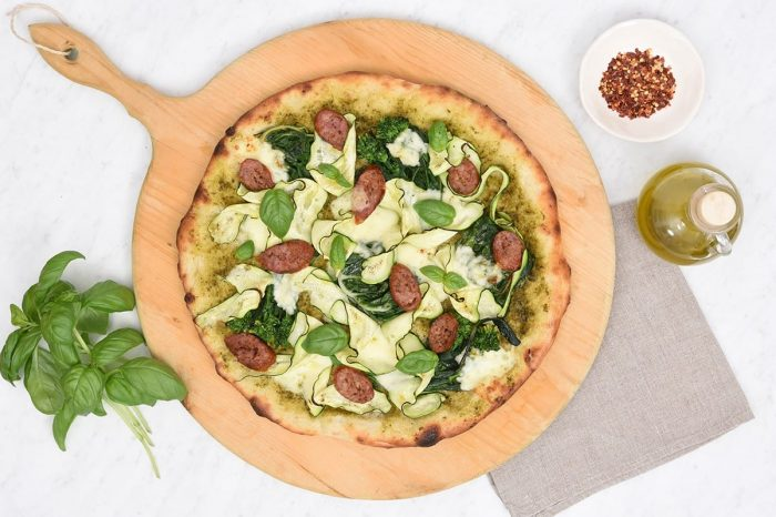 Grilled Turkey Sausage and Summer Greens Pizza Recipe