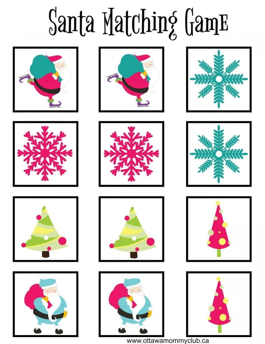 Santa Matching Game with Printables
