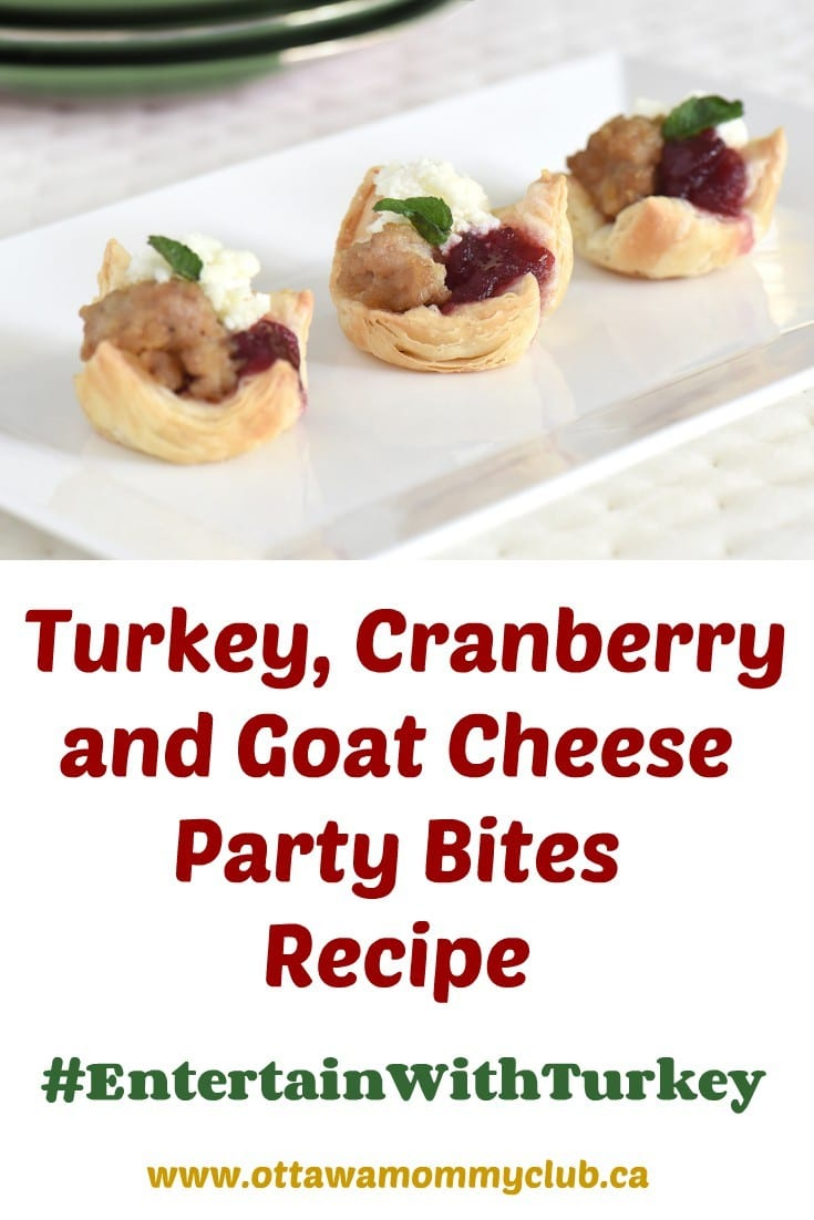 Turkey, Cranberry and Goat Cheese Party Bites Recipe