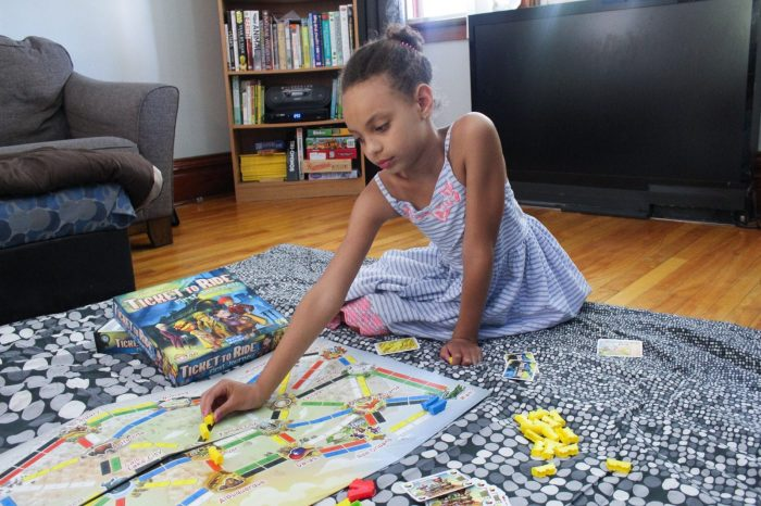 girl playing a game