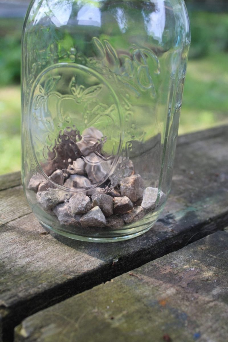 Gravel in Mason Jar
