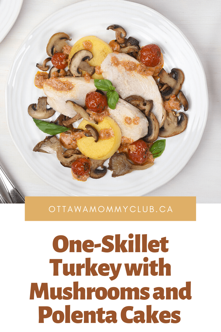 One-Skillet Turkey with Mushrooms and Polenta Cakes Recipe