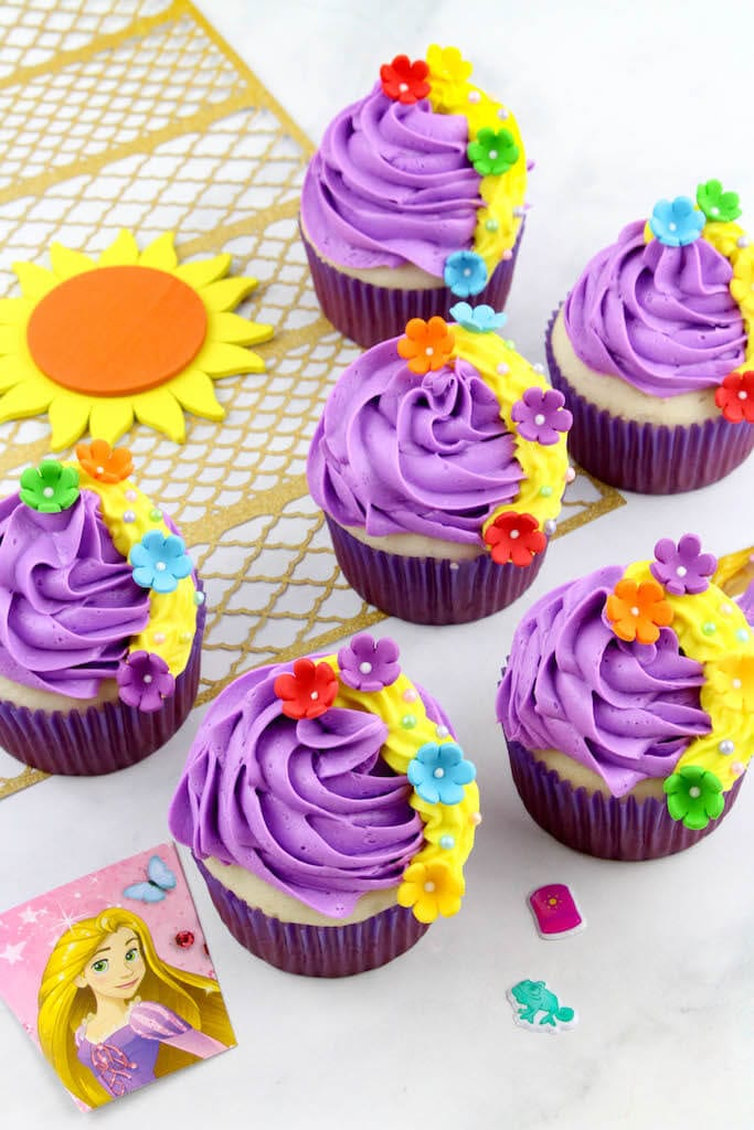 Disney Rapunzel Cupcakes by Well, If She Can Do It.