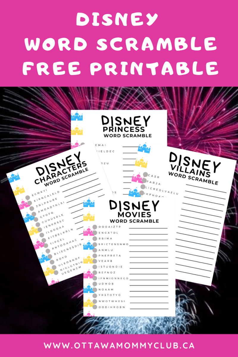 Disney Word Scramble Free Printable