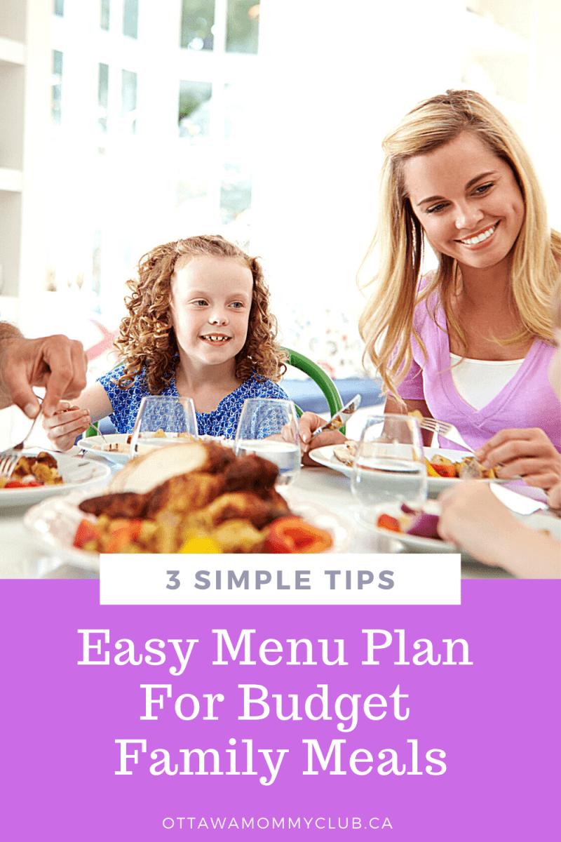 Easy Menu Plan For Budget Family Meals