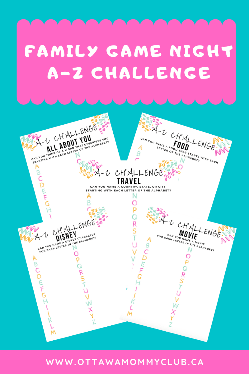 A-Z Challenge Family Game with Printable
