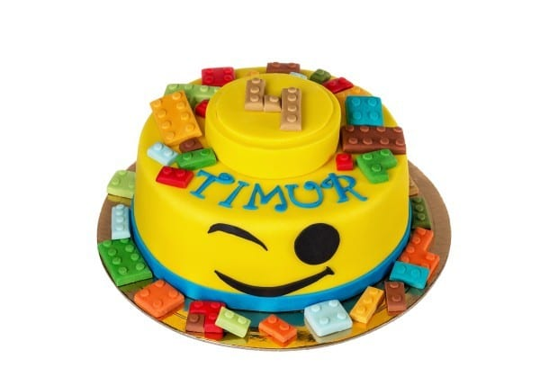 Cute cake of lego items. For a boy for 4 years.