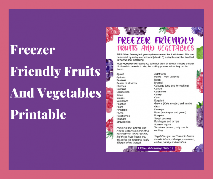 Freezer Friendly Fruits And Vegetables Printable