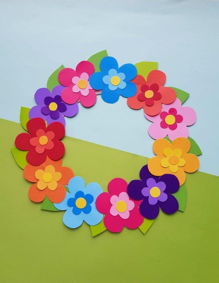 Paper Flower Wreath Craft