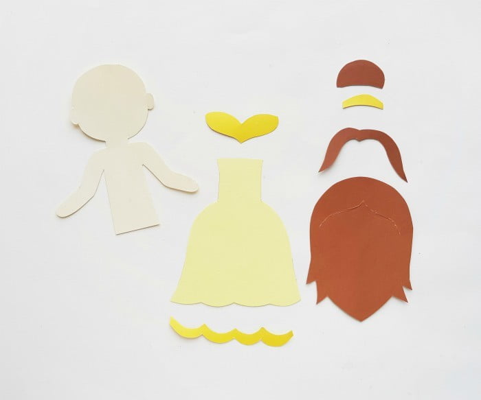 Princess Belle Paper Doll Craft Step 1