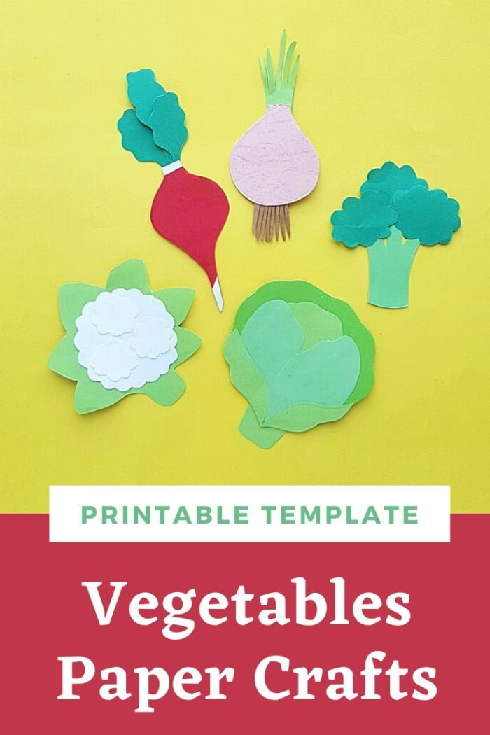 Vegetables Paper Crafts For Kids With Printable Template