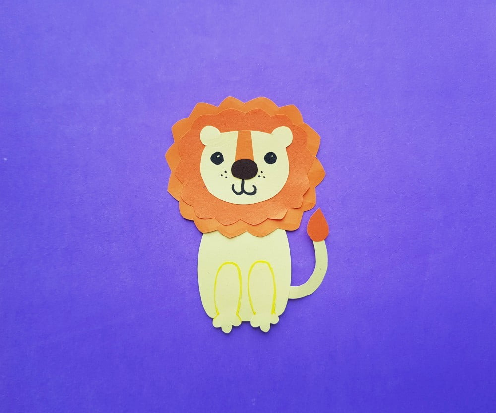 Lion Paper Craft For Kids With Printable Template