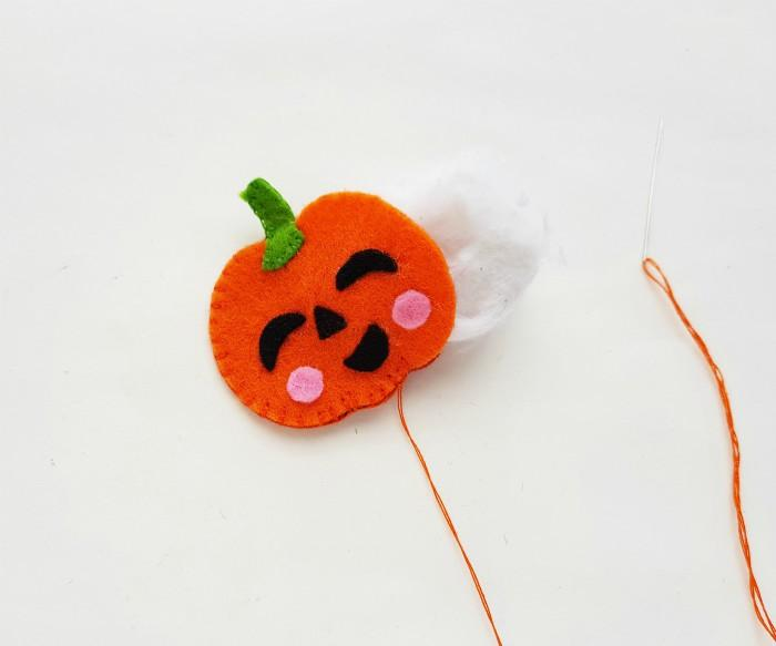 DIY Easy Jack-O'-Lantern Felt Plushie in process