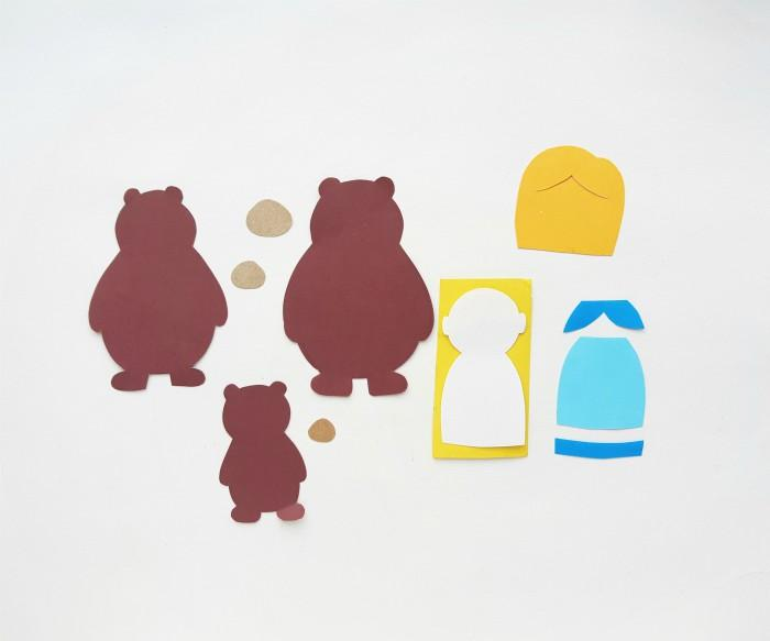 Goldilocks And The Three Bears Puppet Craft in process