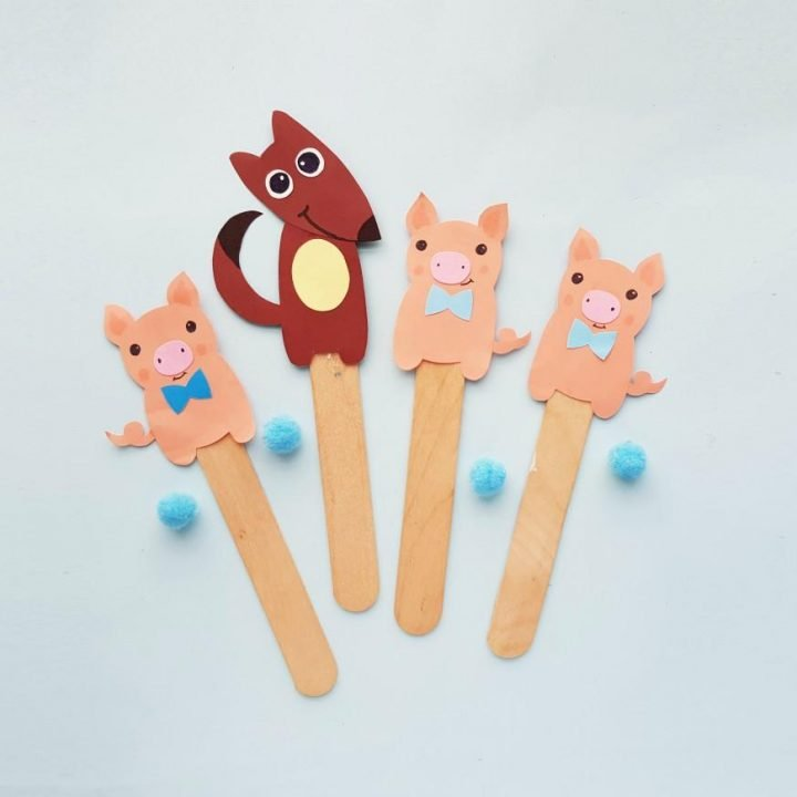 Three Little Pigs Story Puppets Craft With Printable Template