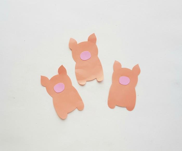 Three Little Pigs Story Puppets Craft in process