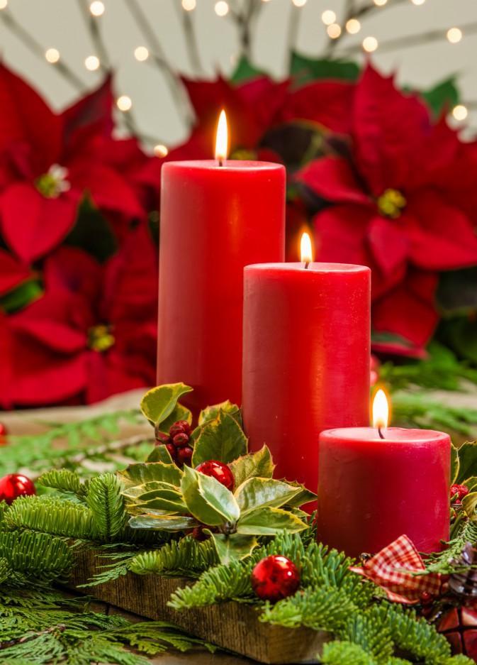 Lit red candles in an evergreen Christmas arrangement