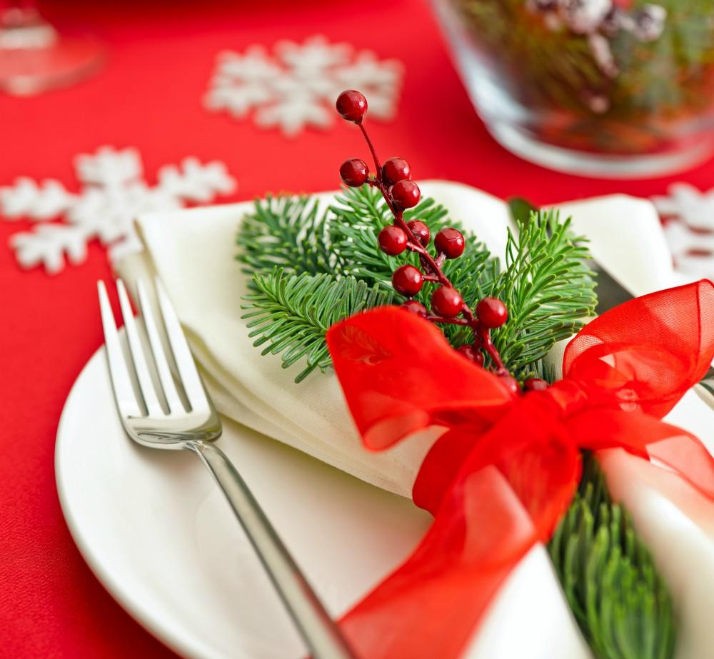 Christmas Dinner table setting with real tree decoration
