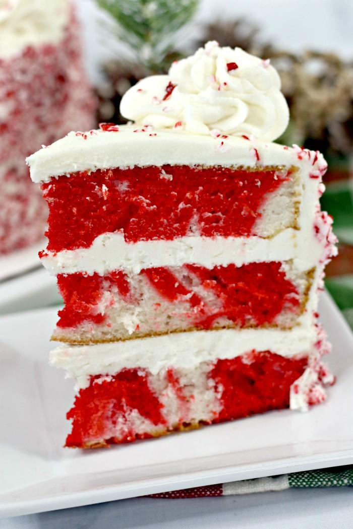 White Candy Cane Layered Cake - slice