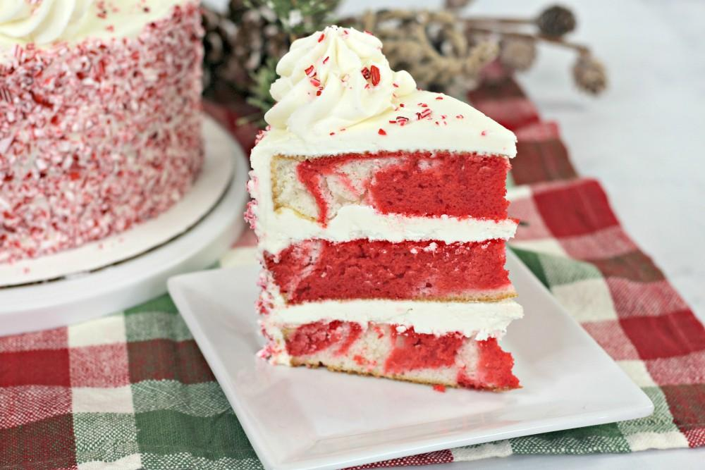 White Candy Cane Layered Cake Recipe