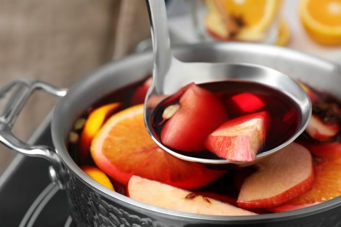 Mulled Wine in a pot over stovetop