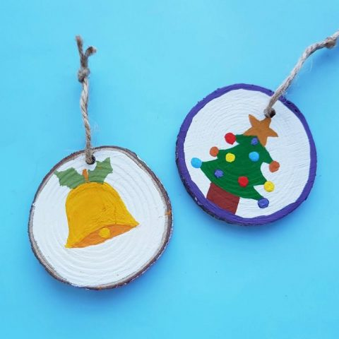 Wood Slice Ornaments with Acrylic Paint