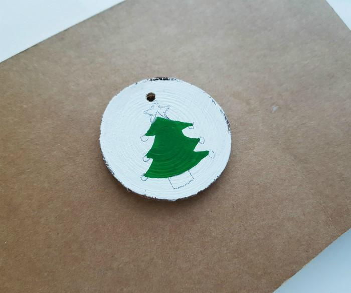 Wood Slice Ornaments with Acrylic Paint For Christmas step 3
