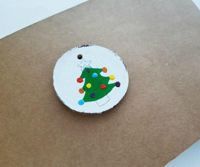 Wood Slice Ornaments with Acrylic Paint For Christmas step 5