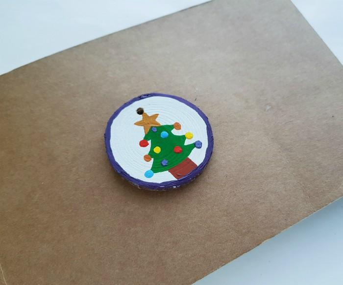 Wood Slice Ornaments with Acrylic Paint For Christmas step 6