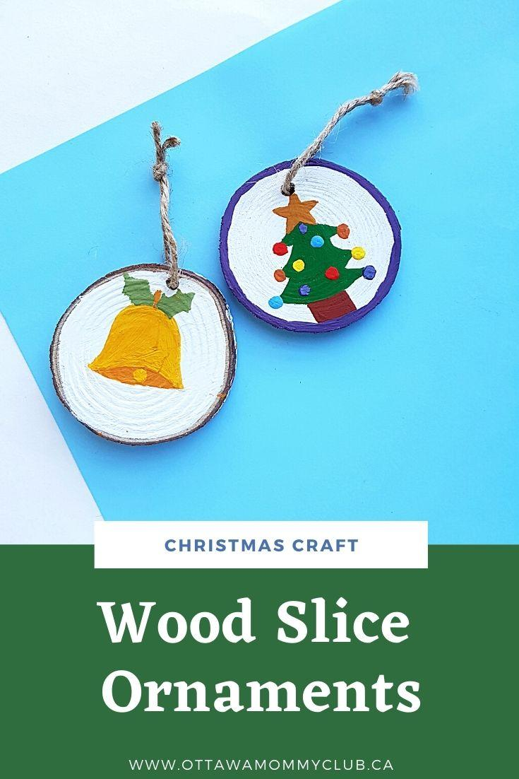 Wood Slice Ornaments with Acrylic Paint For Christmas