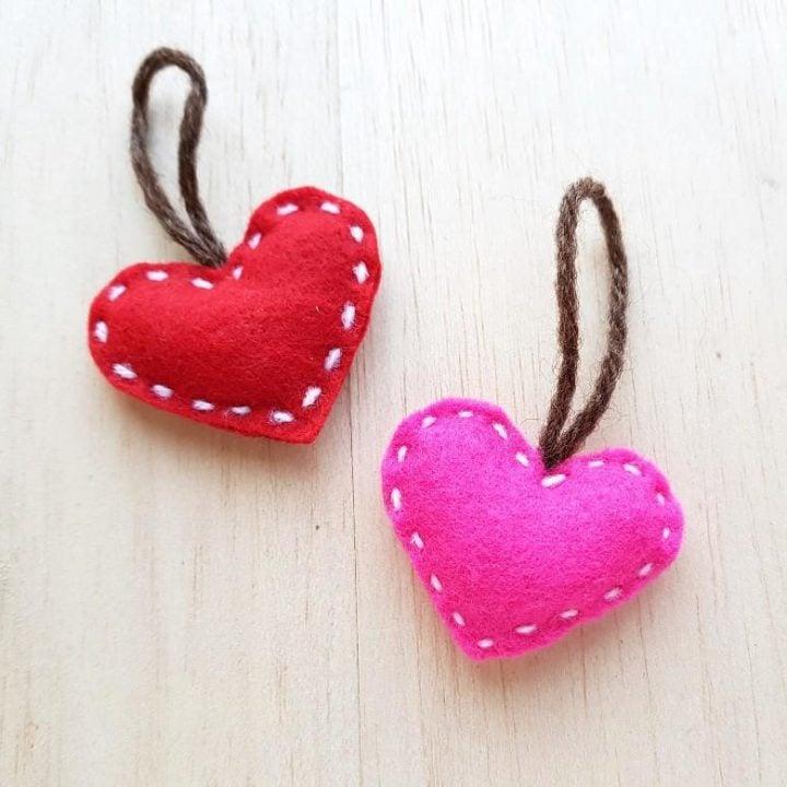 Felt Heart Plush Ornament or Pillow Craft Made from Soft Felt