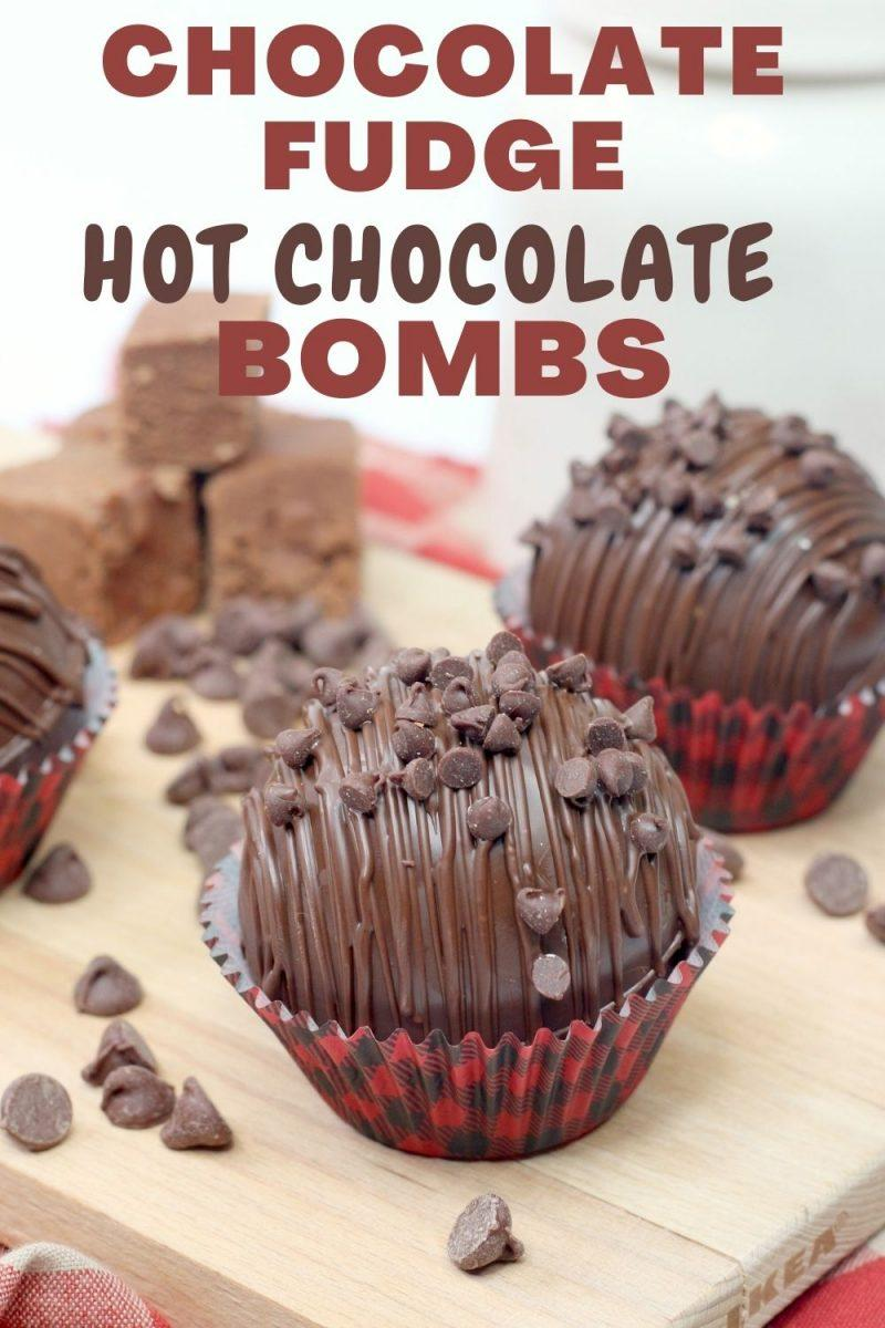 Chocolate Fudge Hot Cocoa Bombs with Chocolate Drizzle