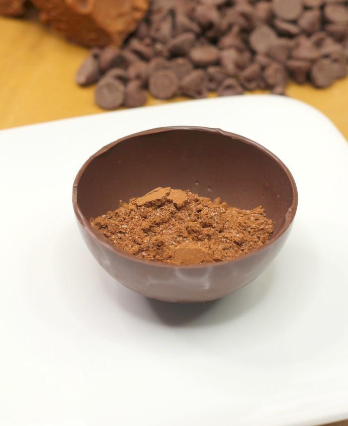 Chocolate Fudge Hot Cocoa Bombs in process