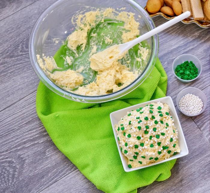 St. Patrick's Day Dunkaroo Dip Recipe in process