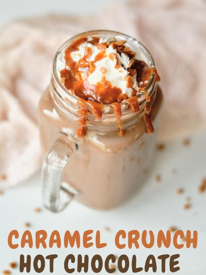 Caramel Crunch Hot Chocolate with Skor Bits and Caramel Drizzle Recipe