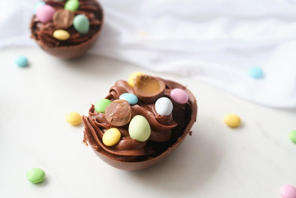 Chocolate Easter Eggs Stuffed with Frosted Brownie Bites Recipe