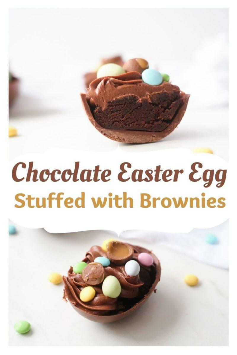 Chocolate Easter Eggs Stuffed with Frosted Brownie Bites
