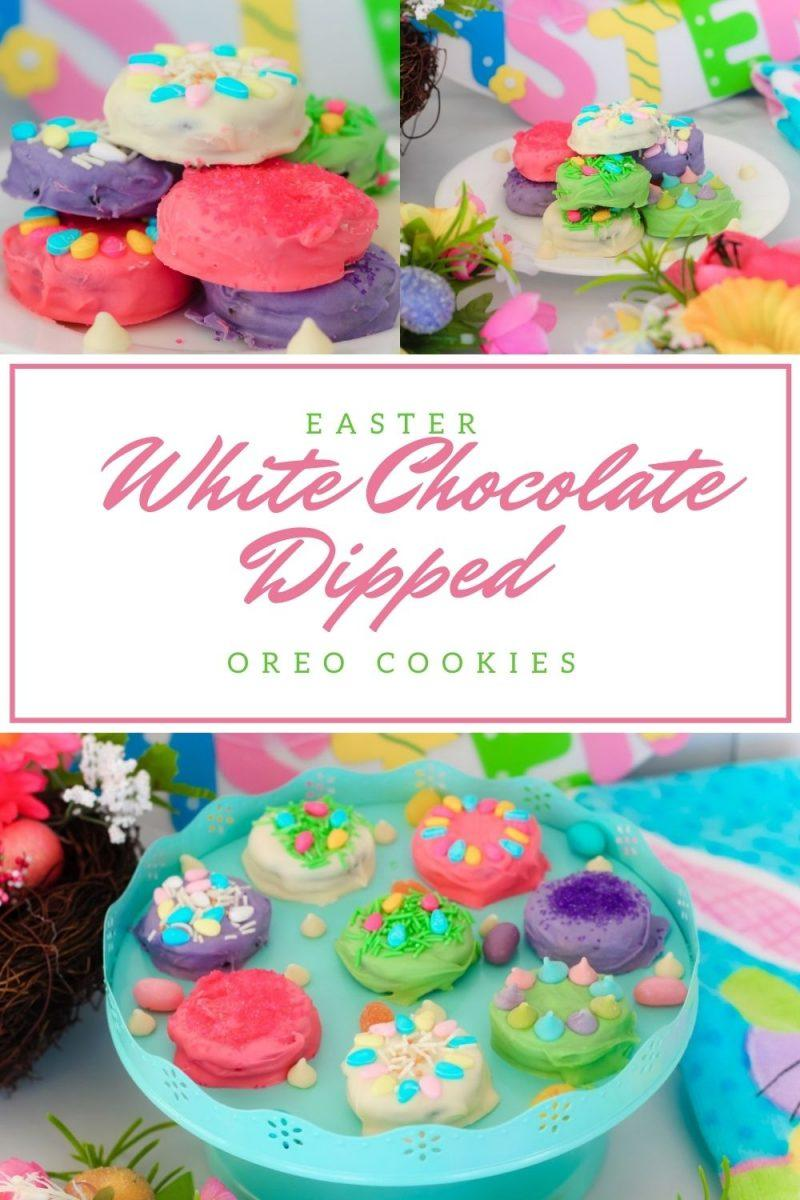 Easter White Chocolate Dipped OREO Cookies