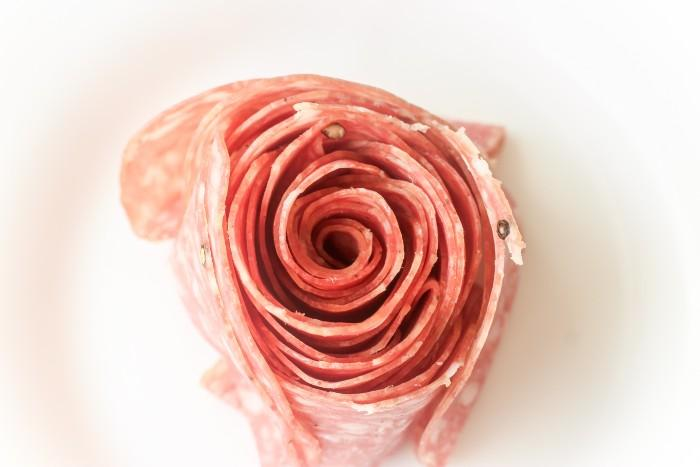 Salami Rose in process