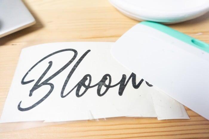 Cricut DIY Bloom Flower Pot Project in process in process