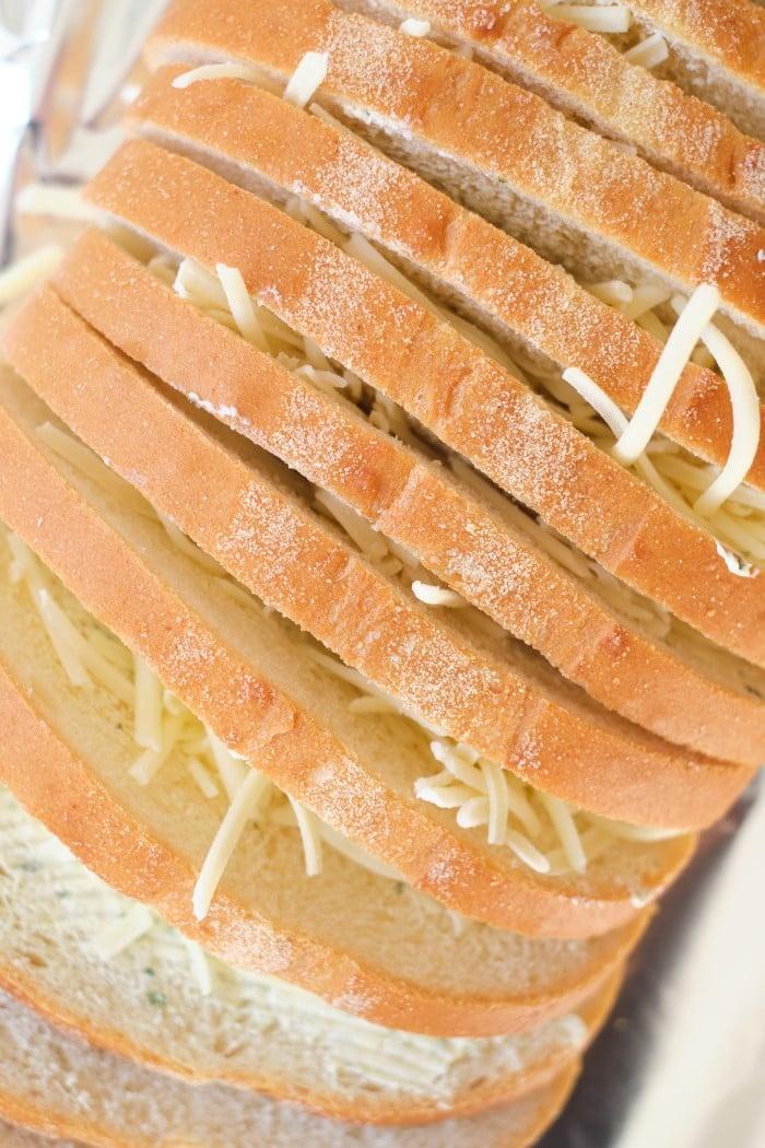 Cheesy Garlic Bread Loaf in process