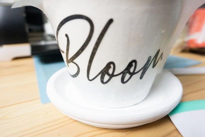 Cricut DIY Bloom Flower Pot Project in process