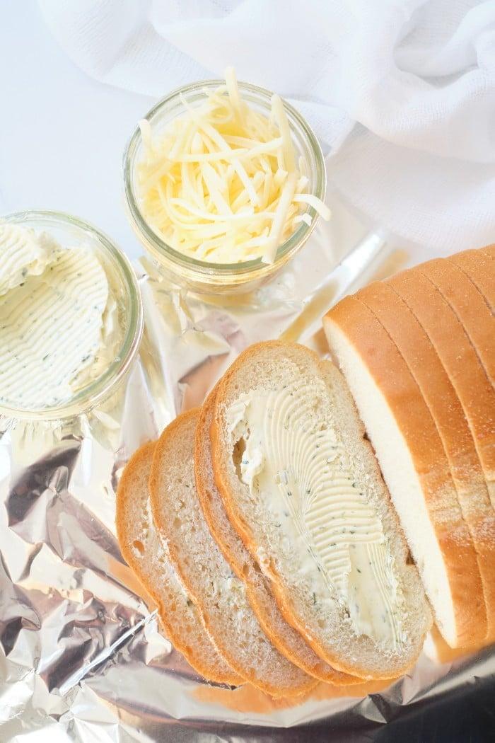 Garlic Cheese Bread in process